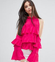 Топ с оборками и открытыми плечами Boohoo Petite - Розовый
