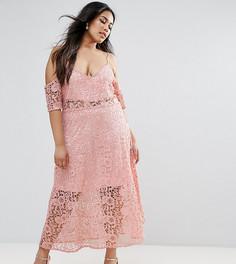 Платье с кружевной накладкой Boohoo Plus - Розовый