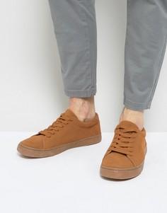 Светло-коричневые замшевые кроссовки на шнуровке ASOS - Рыжий
