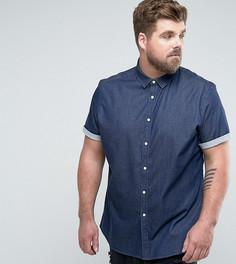 Темная джинсовая рубашка скинни ASOS PLUS - Темно-синий