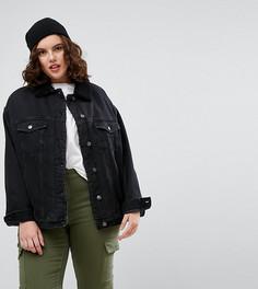 Черная джинсовая куртка на меховой подкладке ASOS CURVE - Черный