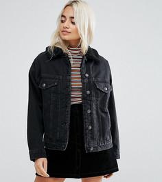 Черная джинсовая куртка с искусственным мехом ASOS PETITE - Черный