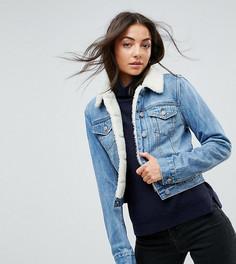 Синяя джинсовая куртка с искусственным мехом ASOS TALL - Синий