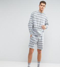 Комплект из свитшота и шорт в полоску ASOS - Серый
