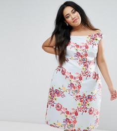 Жаккардовое платье для выпускного с широким вырезом ASOS CURVE SALON Summer - Мульти