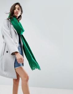Супермягкий вязаный шарф с длинной бахромой ASOS - Зеленый
