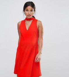 Короткое приталенное платье с пышной асимметричной юбкой и V-образным вырезом ASOS Maternity - Красный