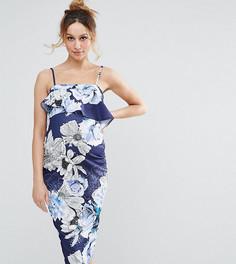 Платье-бандо с рюшами и принтом ASOS Maternity - Мульти