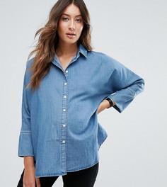 Синяя выбеленная джинсовая рубашка с рукавами летучая мышь ASOS MATERNITY - Синий