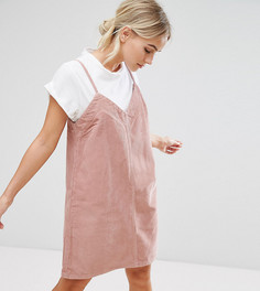 Розовое платье-комбинация из вельвета ASOS PETITE - Розовый