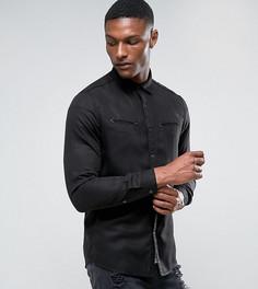 Черная рубашка классического кроя с карманами в стиле вестерн ASOS TALL - Черный