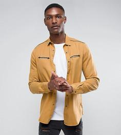 Рубашка классического кроя горчичного цвета с карманами в стиле вестерн ASOS TALL - Зеленый