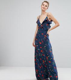 Платье на бретельках с открытыми плечами, оборкой и принтом Fashion Union Tall - Мульти
