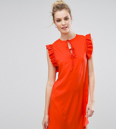 Платье с оборкой и завязками Fashion Union Tall - Красный