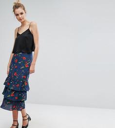 Юбка миди с рюшами и цветочным принтом Fashion Union Tall - Мульти
