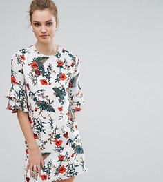 Платье с рукавами клеш и цветочным принтом Fashion Union Tall - Мульти