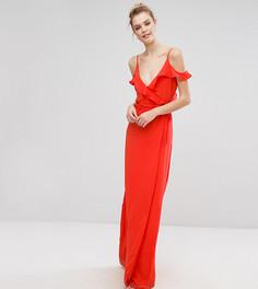 Платье на бретельках с открытыми плечами и оборкой Fashion Union Tall - Красный