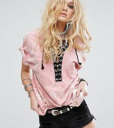 Оверсайз-футболка со шнуровкой и принтом тай-дай Reclaimed Vintage Inspired - Розовый