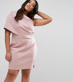 Платье мини на одно плечо с широким отворотом и молнией ASOS CURVE - Розовый