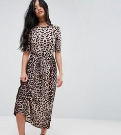 Платье миди с леопардовым принтом и поясом ASOS PETITE - Мульти
