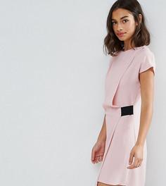 Платье мини с драпировкой и эластичной отделкой ASOS PETITE - Розовый