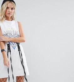 Платье-футболка с декоративной шнуровкой ASOS PETITE - Белый