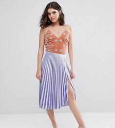 Бархатная плиссированная юбка миди с разрезом до бедра ASOS PETITE - Фиолетовый