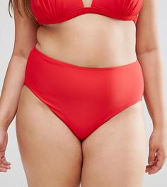 Плавки бикини с высокой талией Boohoo Plus - Красный