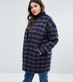Клетчатое пальто с поясом Junarose - Мульти