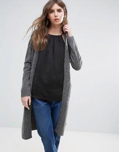 Меланжевый удлиненный кардиган с карманами Ichi - Серый