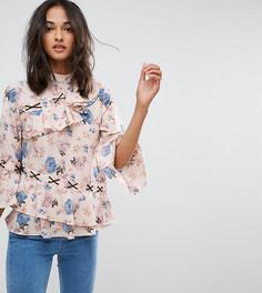 Блузка с асимметричными рюшами, цветочным принтом и контрастной шнуровкой ASOS TALL - Мульти