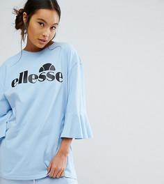 Оверсайз-футболка с оборками на рукавах и логотипом Ellesse - Синий