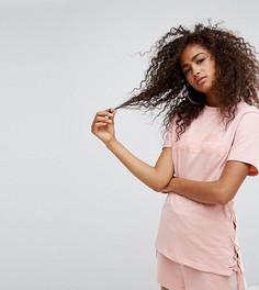 Оверсайз-футболка бойфренда со шнуровкой сбоку Ellesse - Розовый