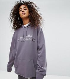 Оверсайз-худи бойфренда с логотипом и завязкой на спине Ellesse - Серый