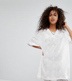 Сетчатое платье-футболка с подкладкой-комбинацией и кружевом Ellesse - Белый