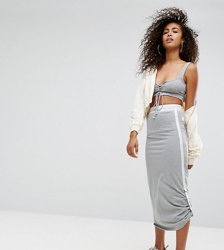 Трикотажная юбка миди с затяжками по бокам Ellesse - Серый