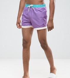Фиолетовые короткие шорты для плавания с отделкой по краю ASOS TALL - Фиолетовый