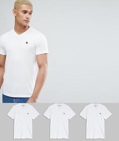 3 белых обтягивающих футболки с V-образным вырезом Abercrombie & Fitch - СКИДКА 25 - Белый