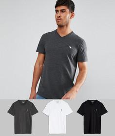 3 футболки узкого кроя с V-образным вырезом (черный/белый/серый) Abercrombie & Fitch - Скидка 25 - Мульти