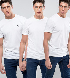 3 белые облегающие футболки с круглым вырезом Abercrombie & Fitch - Скидка 25 - Белый