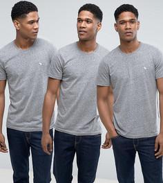 3 узких серых футболки с круглым вырезом Abercrombie & Fitch - Скидка 25 - Серый
