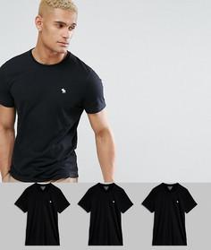 3 облегающие футболки черного цвета с круглым вырезом Abercrombie & Fitch - СКИДКА 25 - Черный