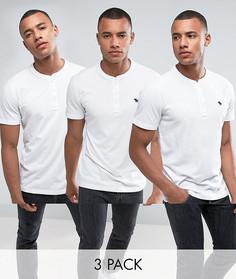 3 белых обтягивающих футболки хенли Abercrombie & Fitch - Скидка 30 - Белый