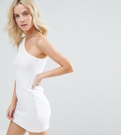Трикотажное платье на одно плечо ASOS PETITE - Белый