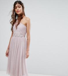 Платье на одно плечо с отделкой Little Mistress - Коричневый