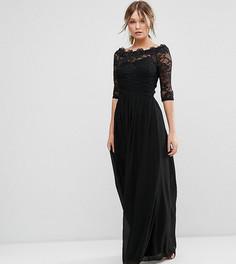Шифоновое платье макси со спущенными плечами и кружевом Little Mistress - Черный
