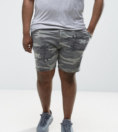 Трикотажные шорты с камуфляжным принтом ASOS PLUS - Зеленый