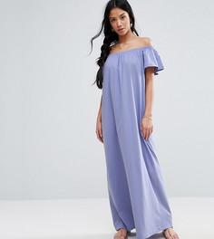 Платье макси с открытыми плечами ASOS PETITE - Фиолетовый