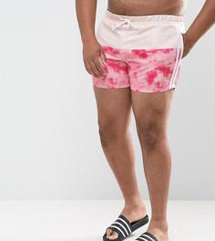 Фестивальные короткие шорты для плавания с принтом тай-дай на вставке и полосками по бокам ASOS PLUS - Розовый