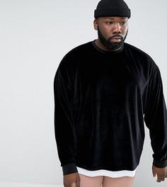 Оверсайз-свитшот из бархата с эффектом футболки ASOS PLUS - Черный